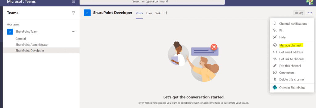 manage channel in Microsoft teams