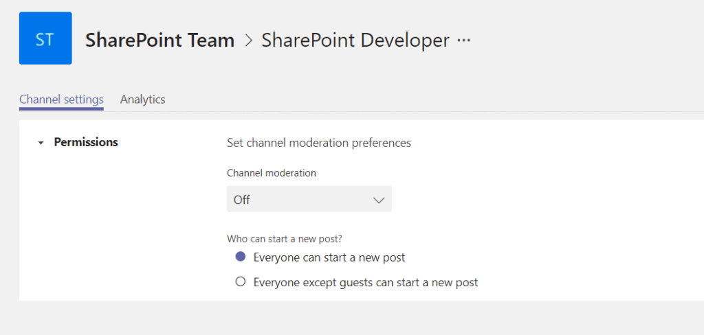 Microsoft Teams manage channel