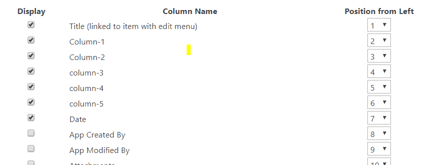 hide columns in SharePoint default view