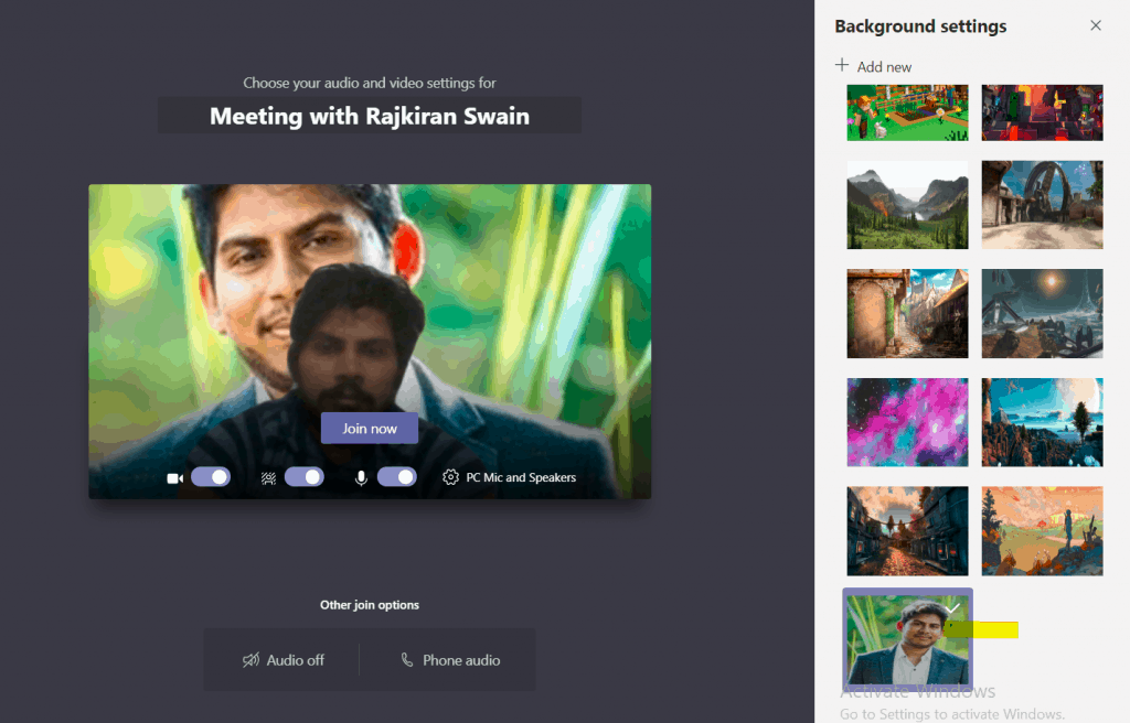 change microsoft teams background before call