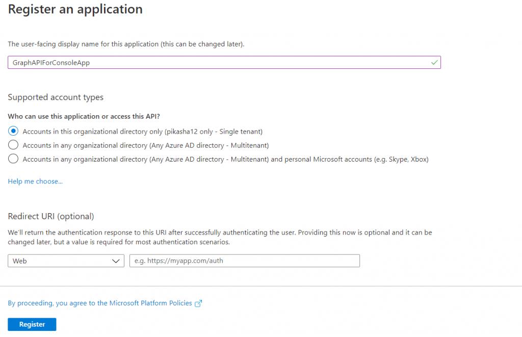 New Azure App registrations