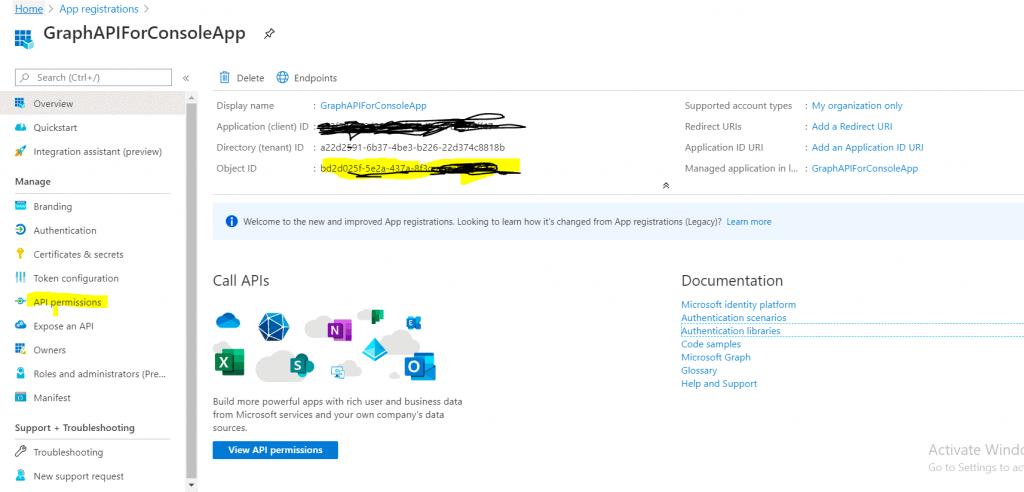 Azure app registration using graph api