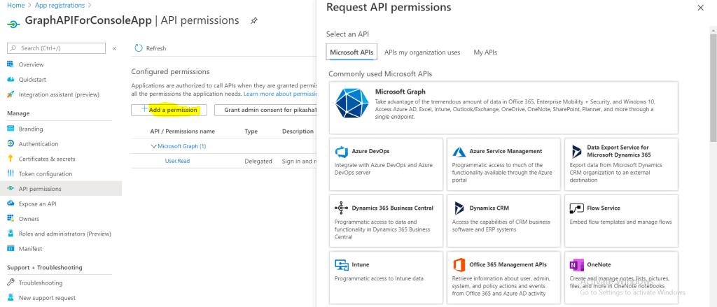 request api permission azure