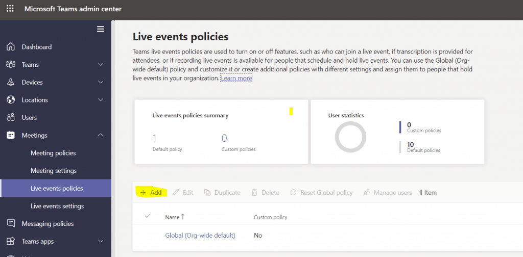 How to Add new Live event polices in Microsoft Teams