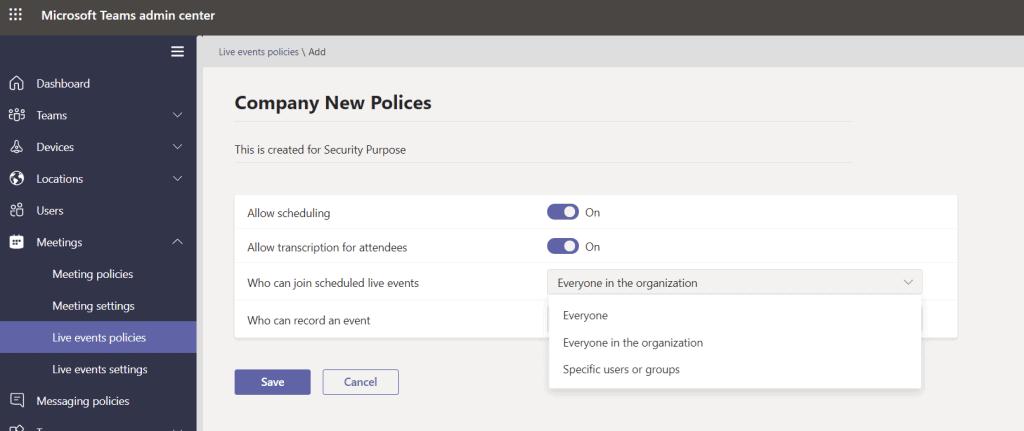 Microsoft teams meeting policies