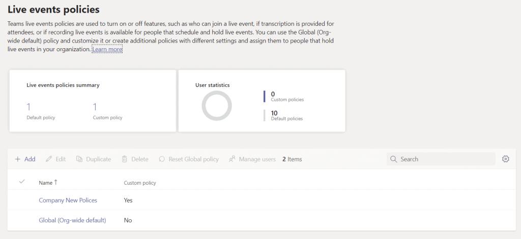 Microsoft teams live meeting policies