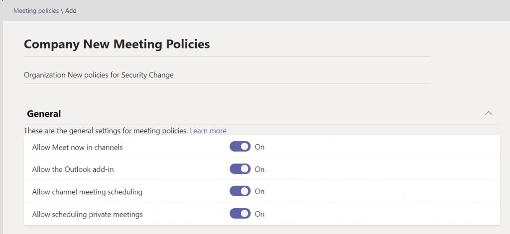 Add new meeting policies teams