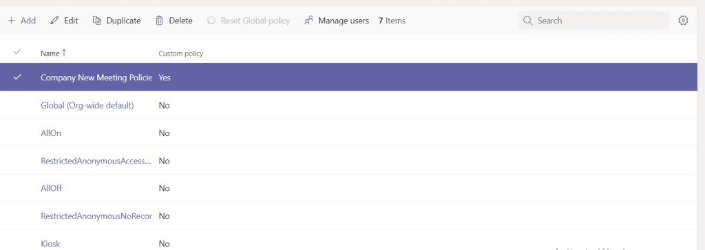 microsoft teams how to add new meeting policies