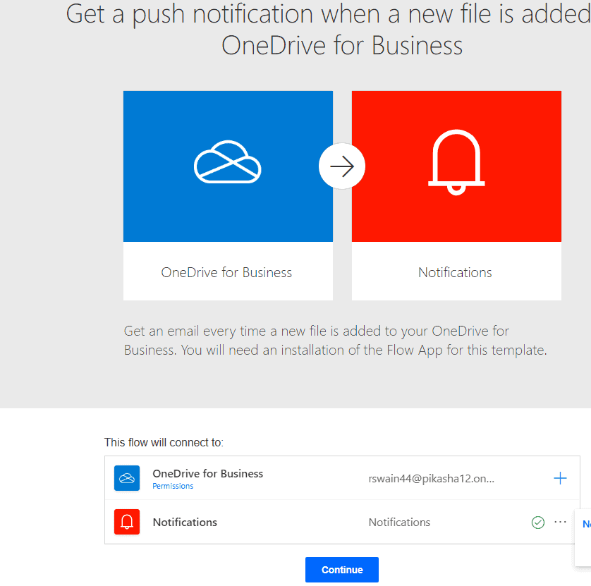 Get a push notification when a new file is added to OneDrive for Business