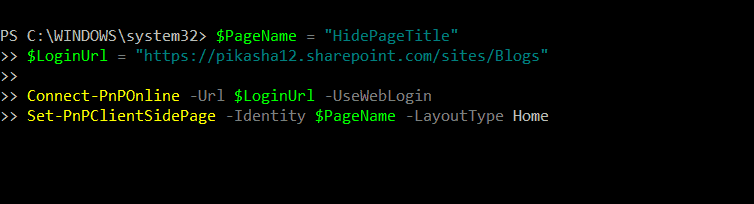 How to remove SharePoint Online Modern Page Title using PowerShell