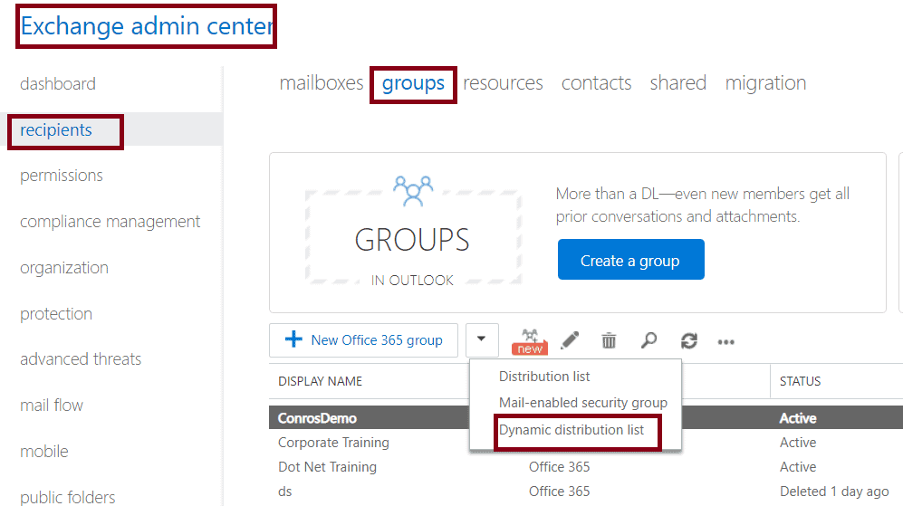 Create a Dynamic distribution list in Office 365