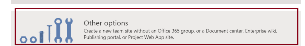Create a team site without a group in Office 365