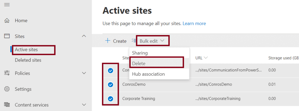 How to Delete Multiple sites from SharePoint Admin Portal