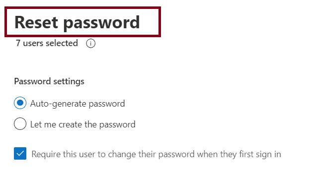 Reset business passwords in bulk