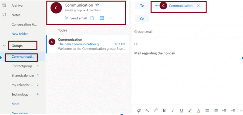 Send a group email in Office 365