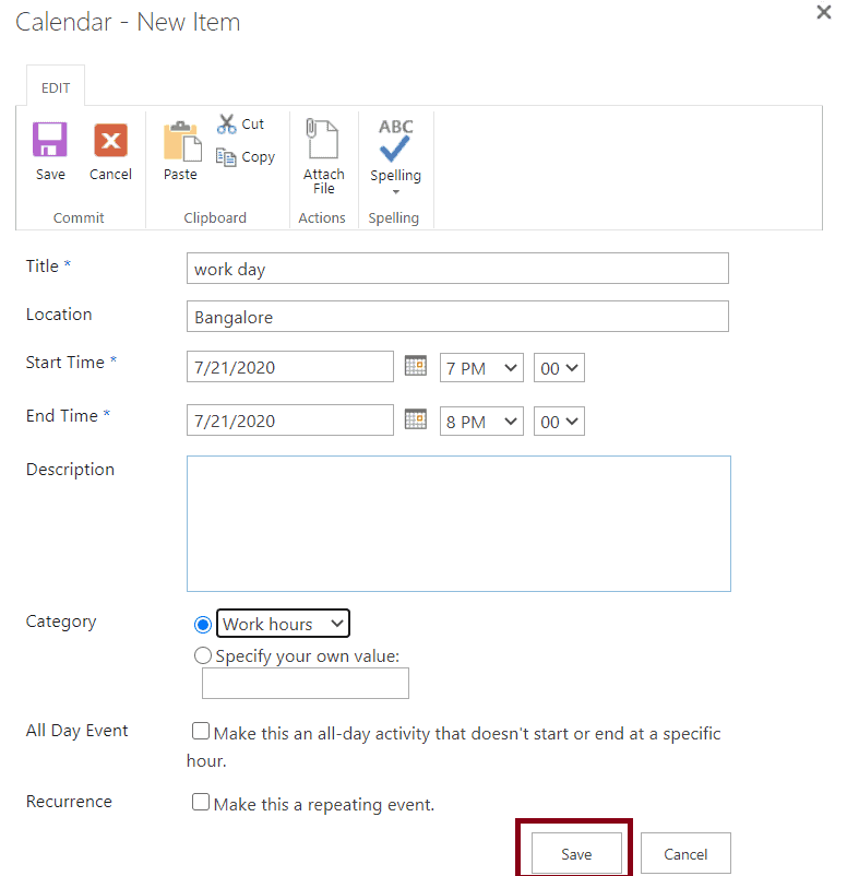 calendar in office 365 SharePoint