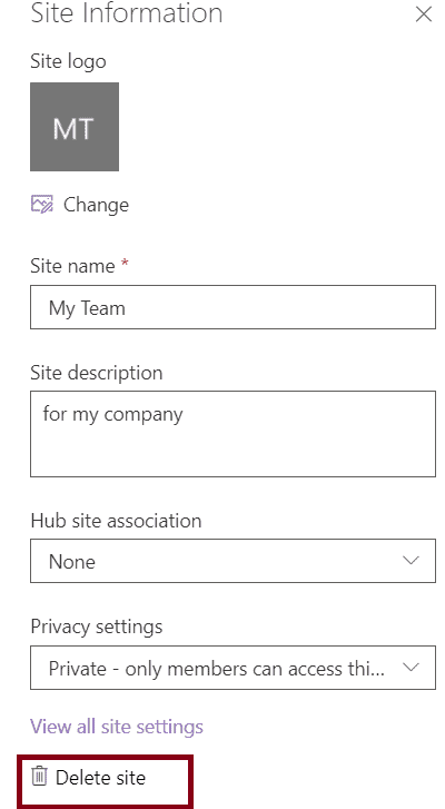 cannot delete sharepoint site