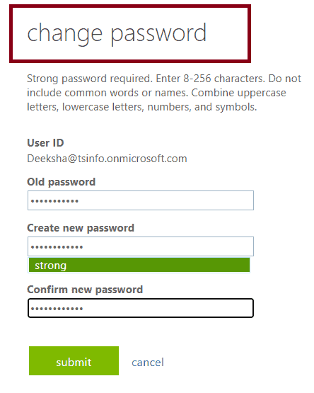change the password in office 365