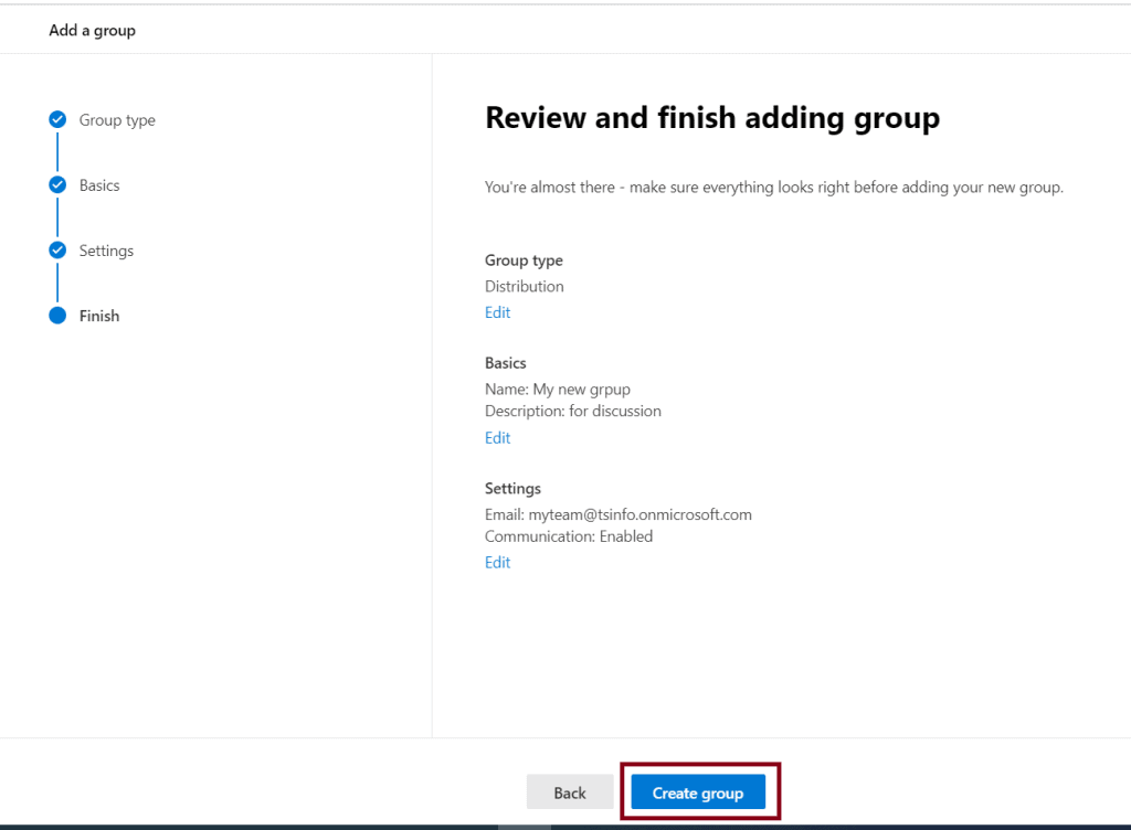 create a new distribution list in office 365