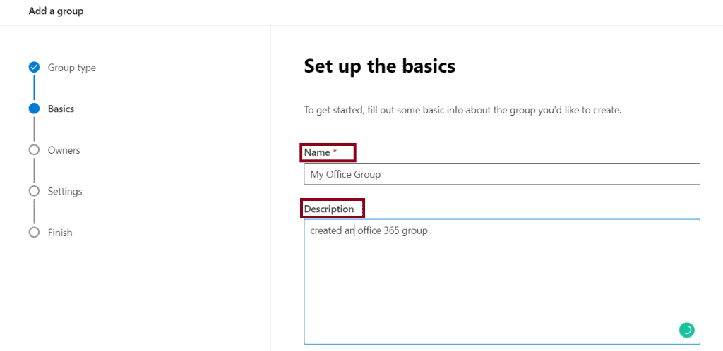 Create a group in Office 365 admin center