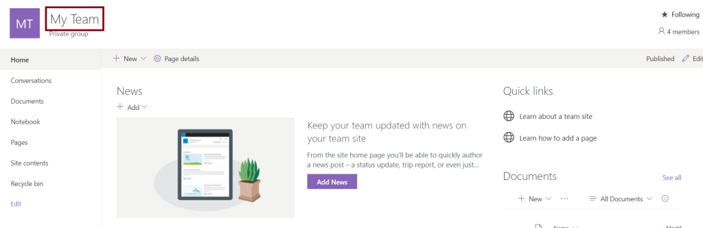 create office 365 Team Site