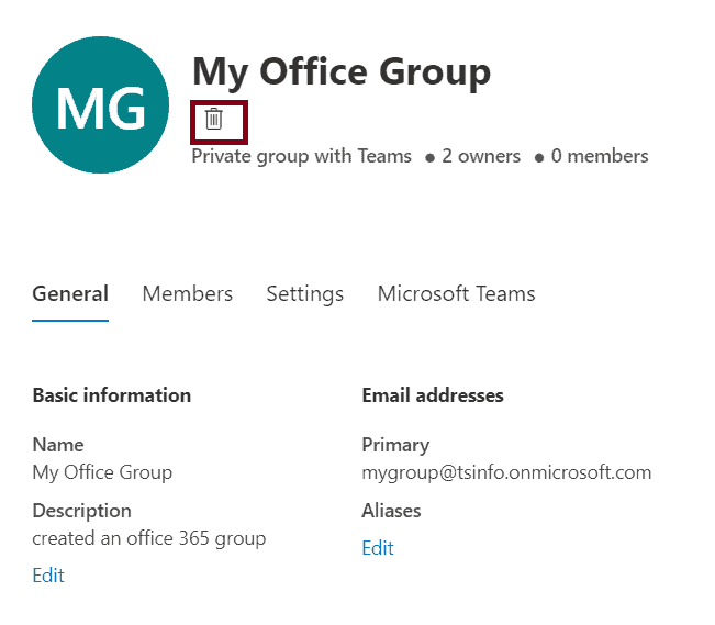 delete office 365 group