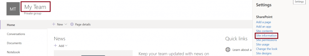 deletion of team site