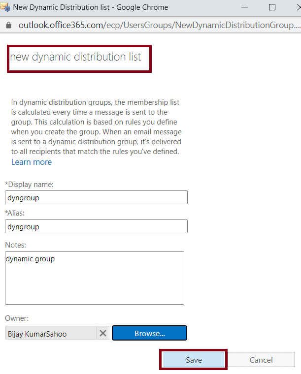 how to create a Dynamic distribution list in Office 365