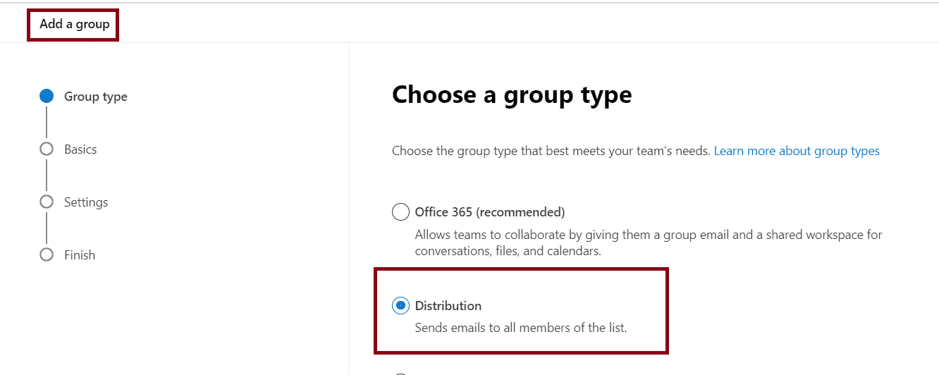 how to create a distribution list in office 365 admin