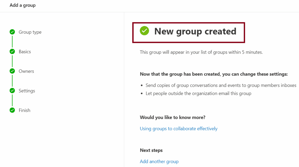 create office 365 group admin center