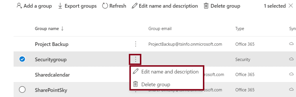 how to create delete security group in office 365