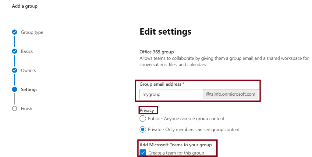 how to create group in office 365 online