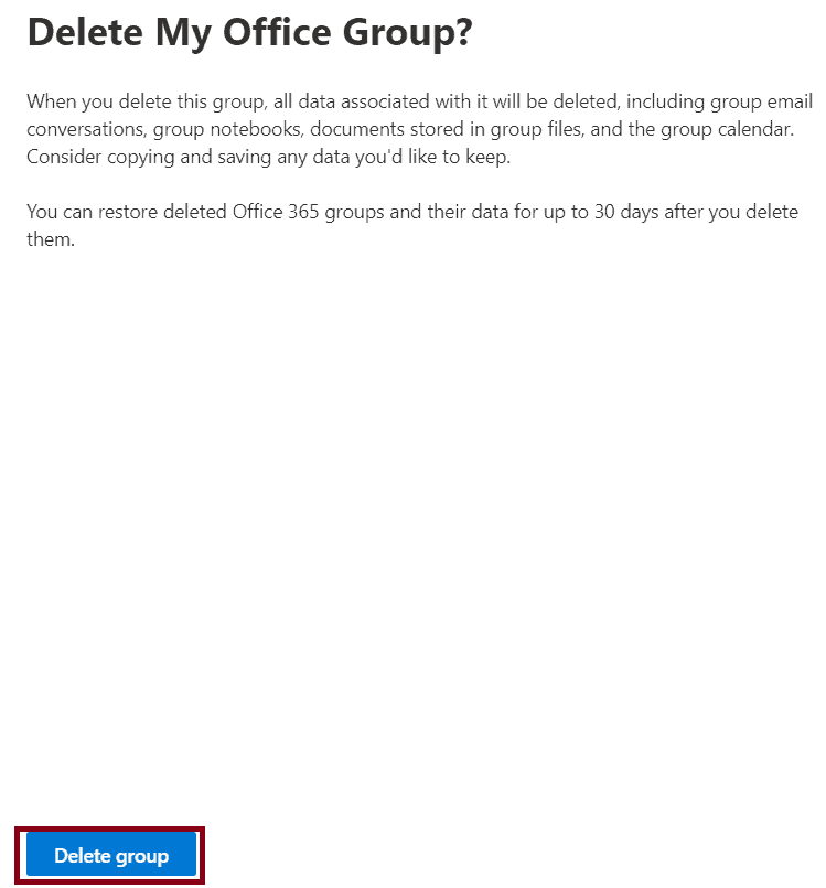 how to remove a group in office 365