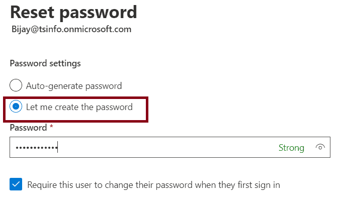 how to reset user password in office 365