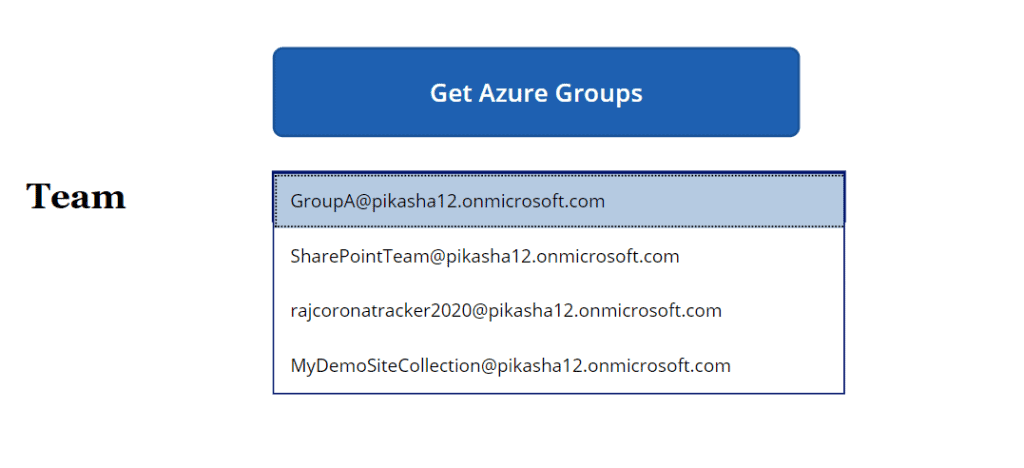Fetch azure groups in powerapps