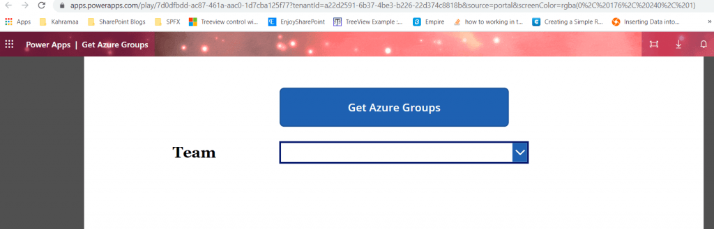 How to Fetch azure groups in powerapps