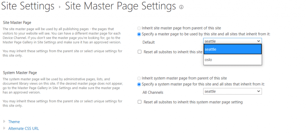 How to change master page in SharePoint Online