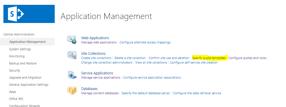 configure quota template in SharePoint 2019