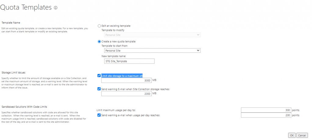 how to configure quota template in SharePoint 2019