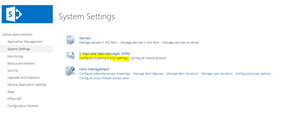 configure outgoing email settings sharepoint 2019