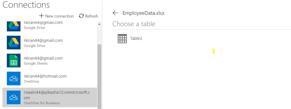 connect to onedrive for business in powerapps