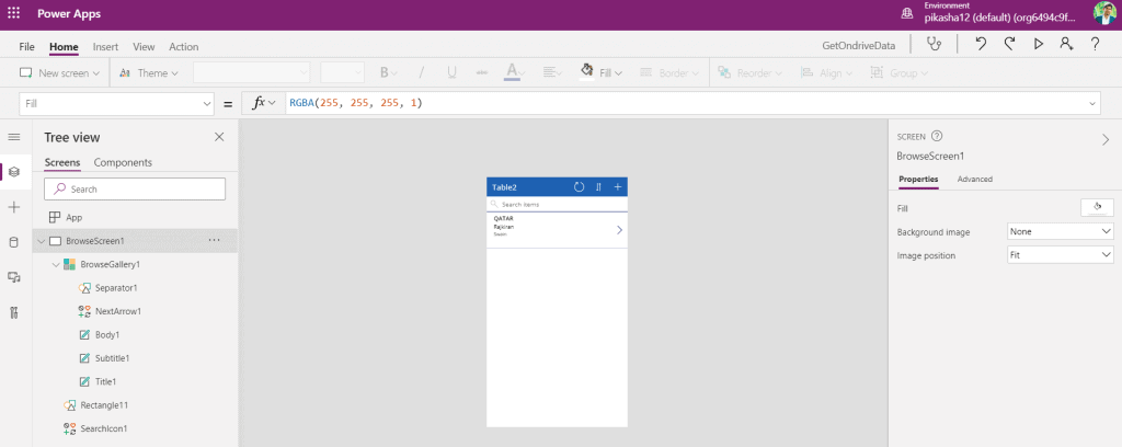 powerapps onedrive excel