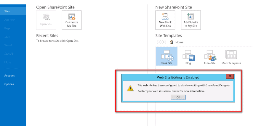 this web site has been configured to disallow editing with sharepoint designer 2013