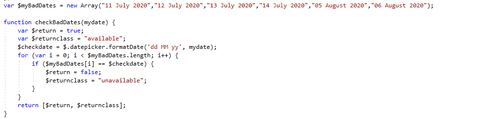 How to disable specific date in jQuery calendar control