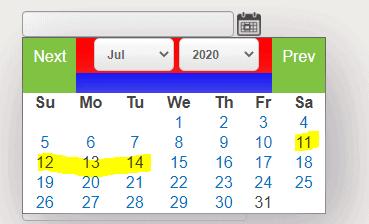 jQuery calendar control