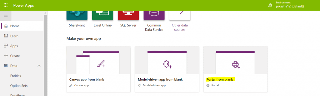 How to Create a portal in PowerApps