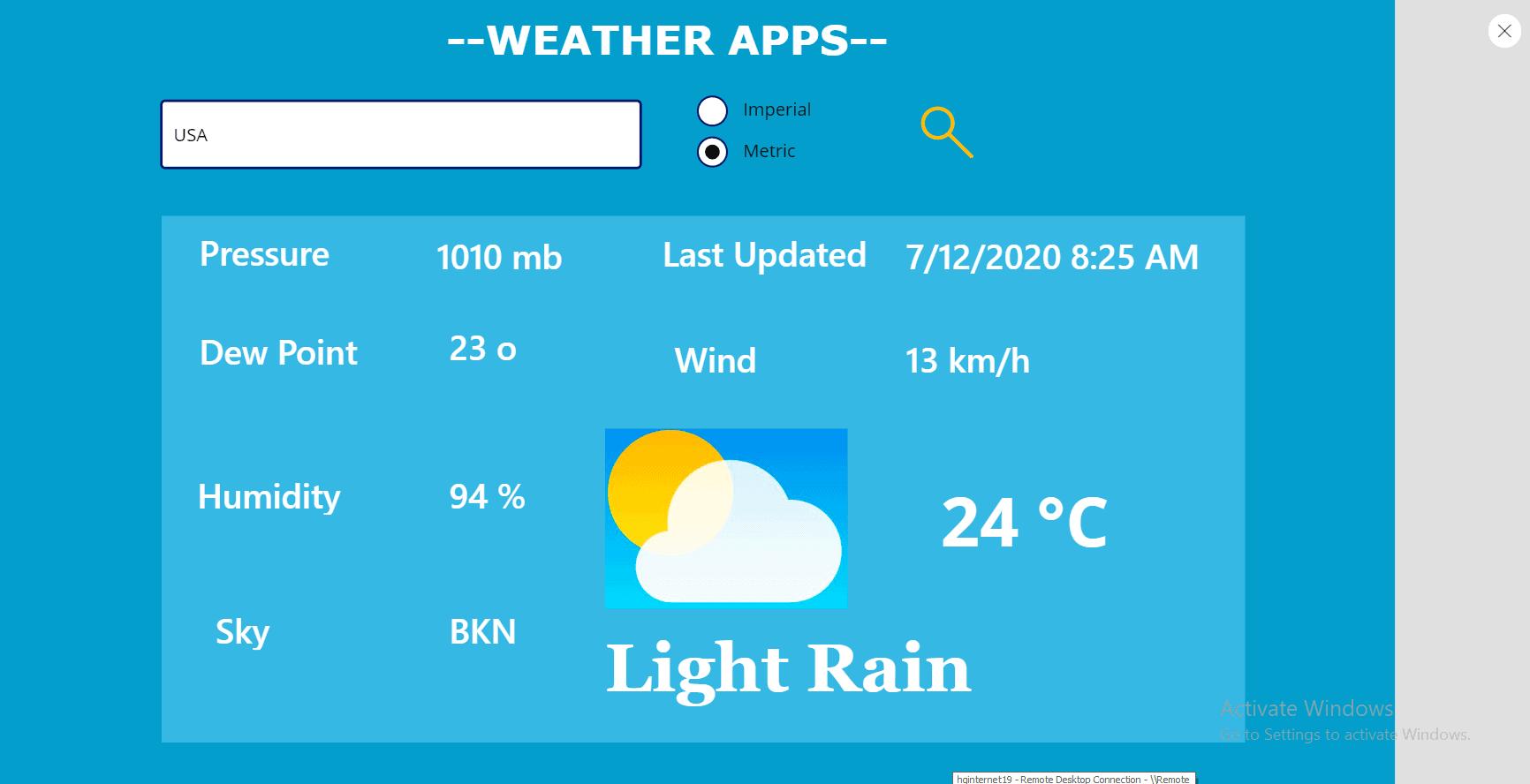 Power Apps weather app
