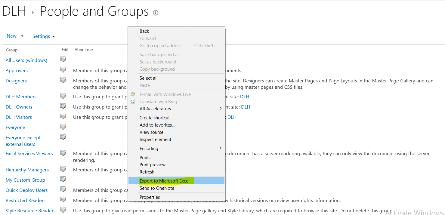 export sharepoint user groups to excel