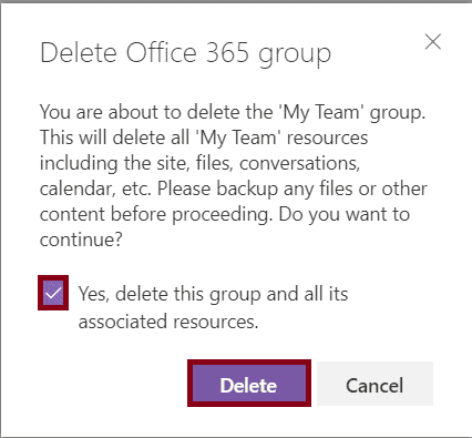 office 365 sharepoint delete a site