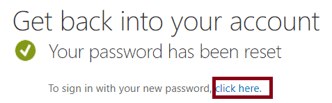 password recovery in office 365